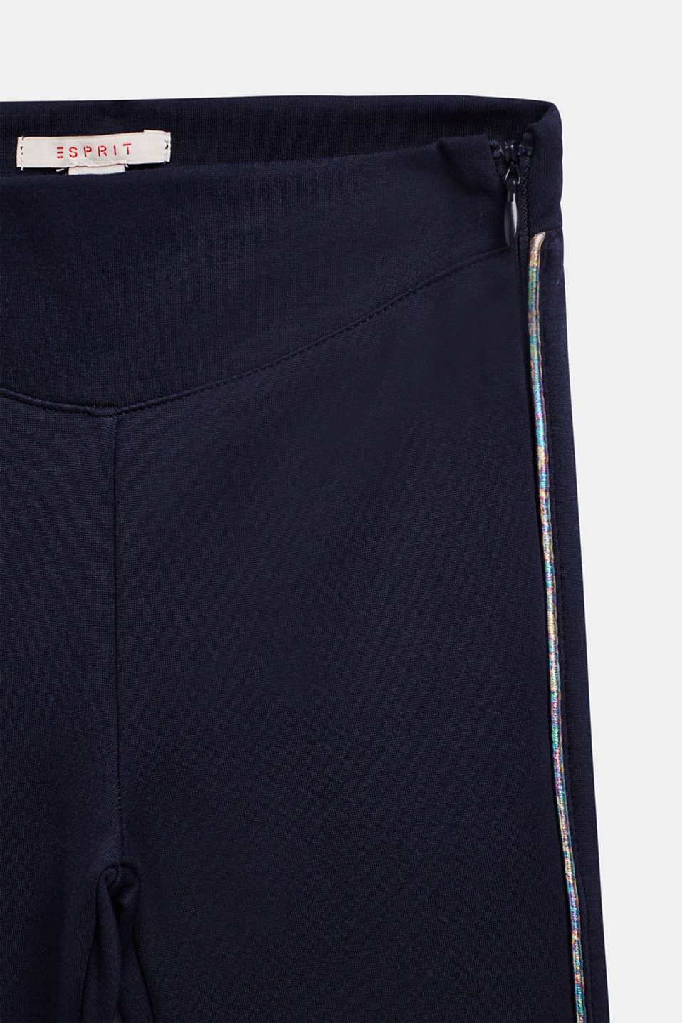 Jersey trousers with metallic piping, NAVY BLUE, detail image number 2