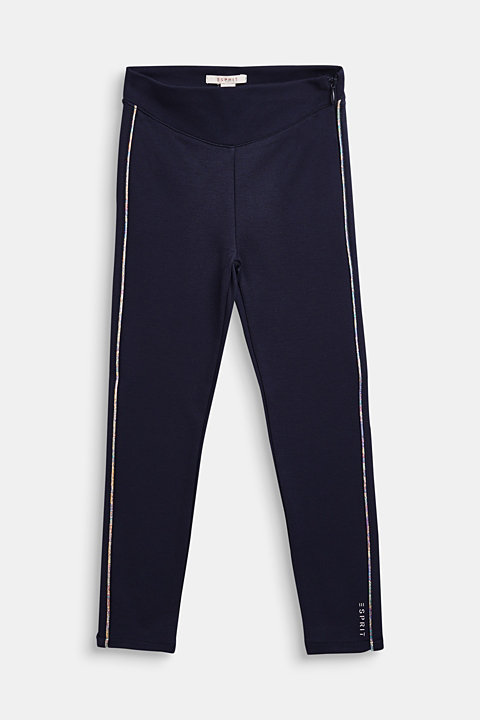 Jersey trousers with metallic piping