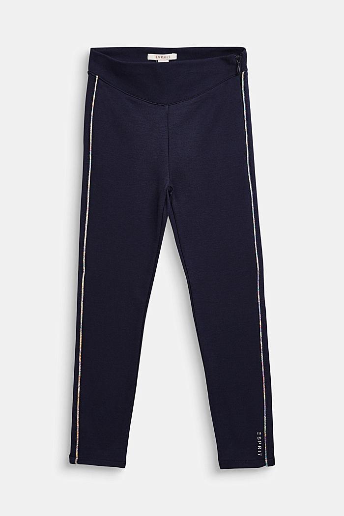 Jersey broek met metallic paspels, NAVY BLUE, detail image number 0