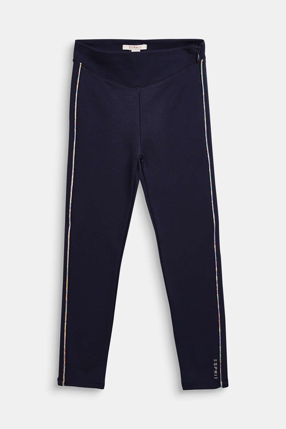 Jersey trousers with metallic piping, NAVY BLUE, detail image number 0