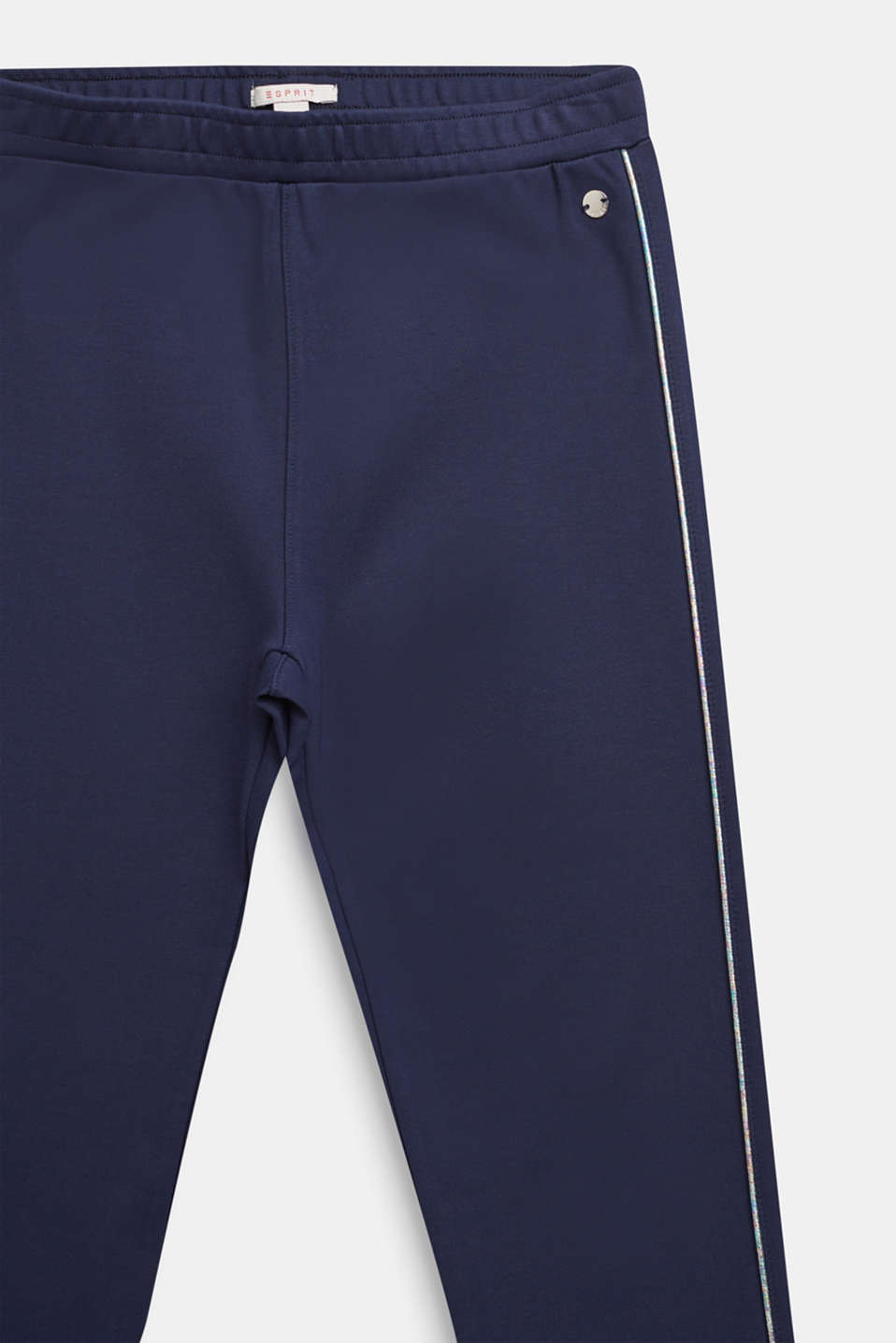 Compact jersey trousers with shiny stripes, LCNAVY BLUE, detail image number 2