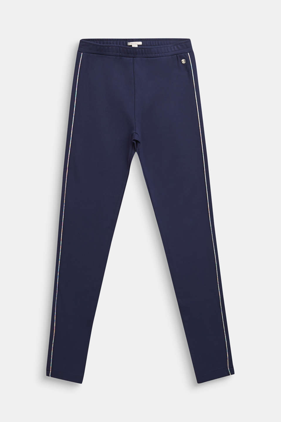 Compact jersey trousers with shiny stripes, LCNAVY BLUE, detail image number 0