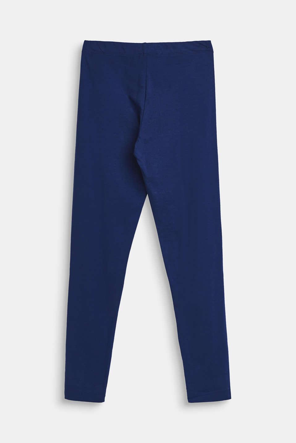 Basic stretch cotton leggings, LCMARINE BLUE, detail image number 1