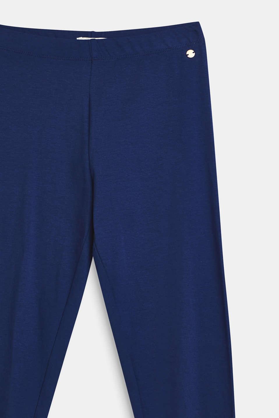 Basic stretch cotton leggings, LCMARINE BLUE, detail image number 2