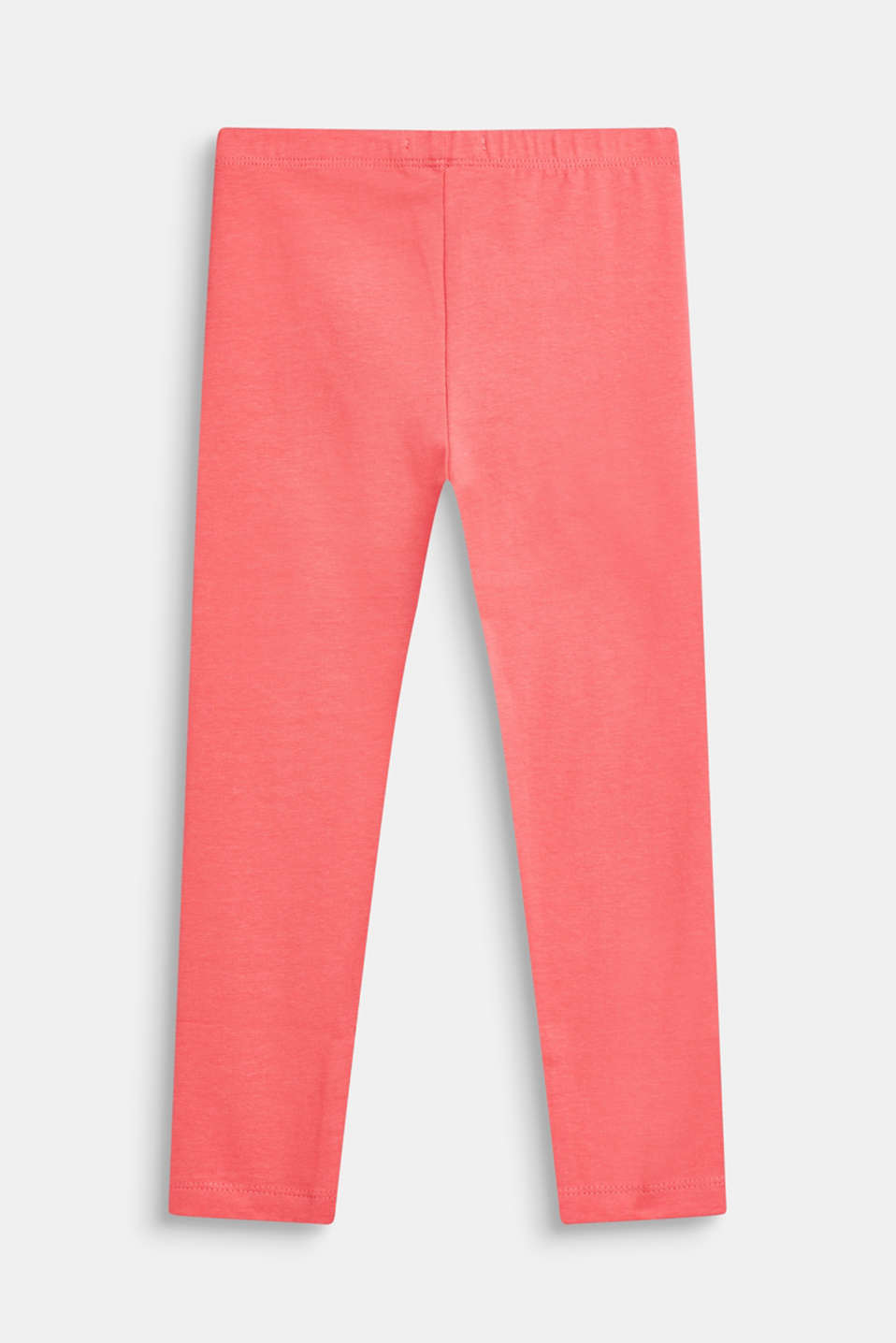 Basic stretch cotton leggings, CORAL, detail image number 1