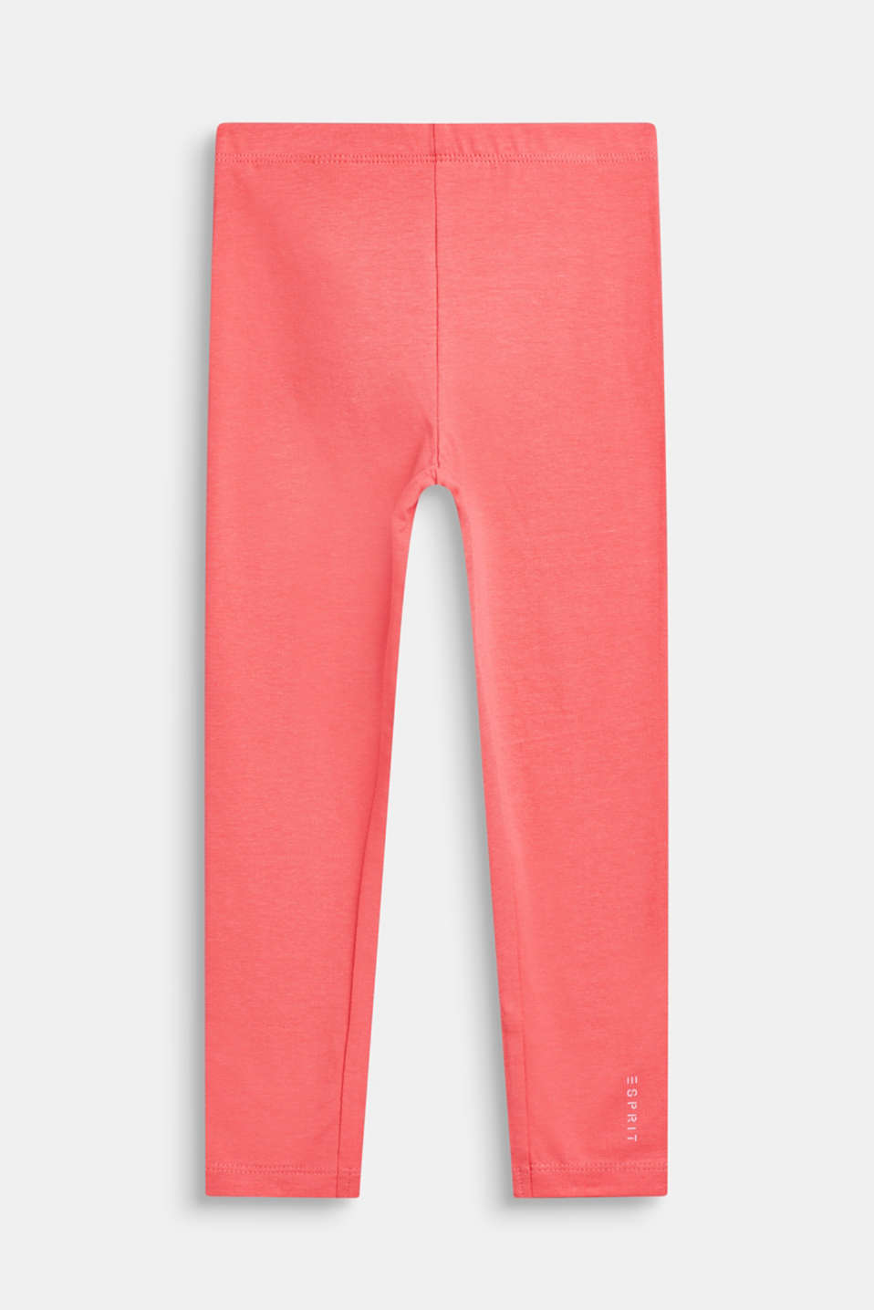 Basic stretch cotton leggings, CORAL, detail image number 0