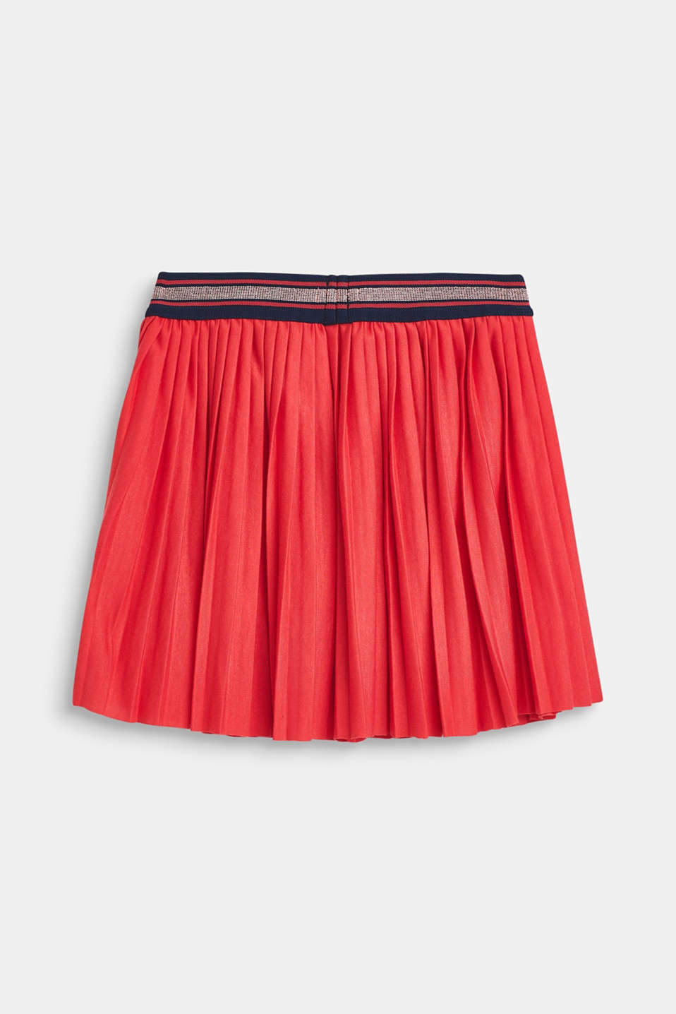 Pleated skirt made of jersey with an elasticated waistband, STRAWBERRY, detail image number 1