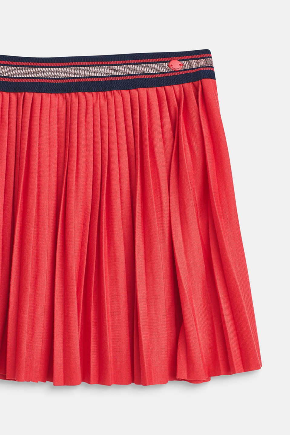 Pleated skirt made of jersey with an elasticated waistband, STRAWBERRY, detail image number 3