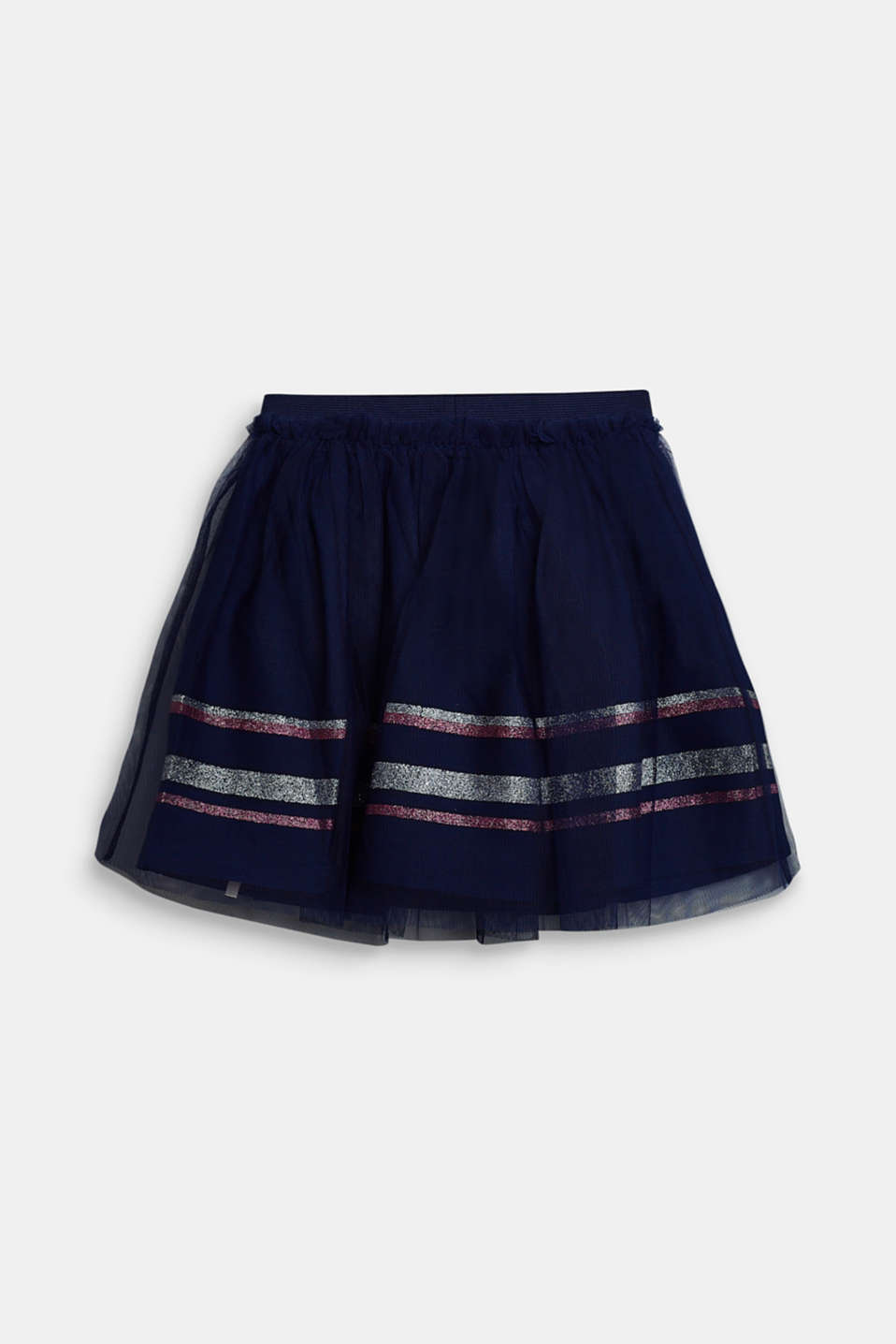 Tulle skirt with glitter stripes, MARINE BLUE, detail image number 1