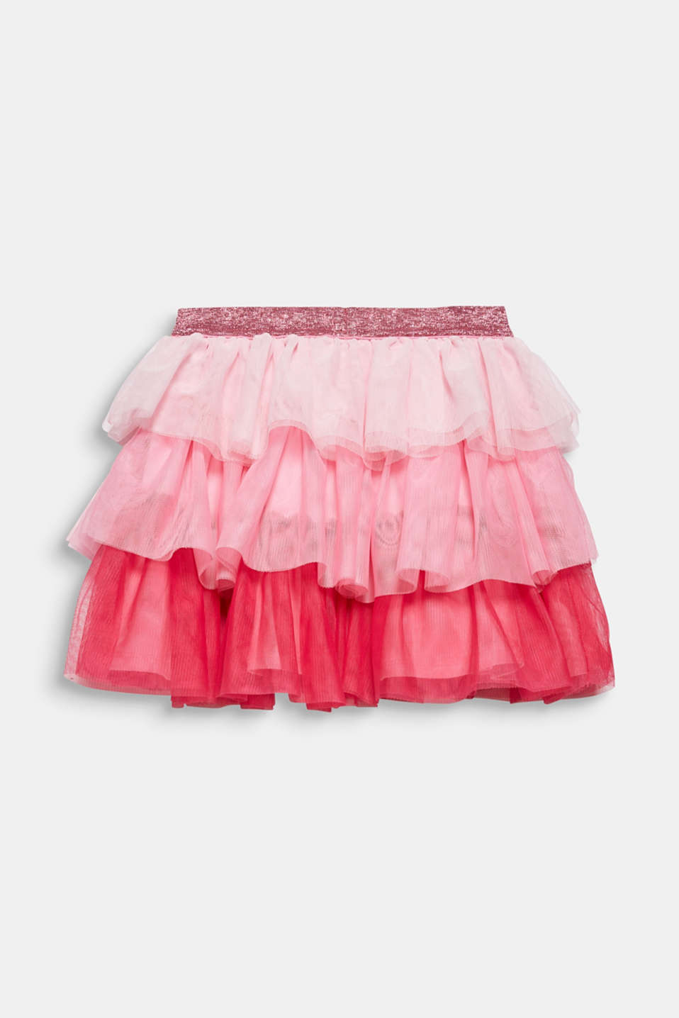 Layered skirt made of tulle with a glitter waistband, CANDY PINK, detail image number 2