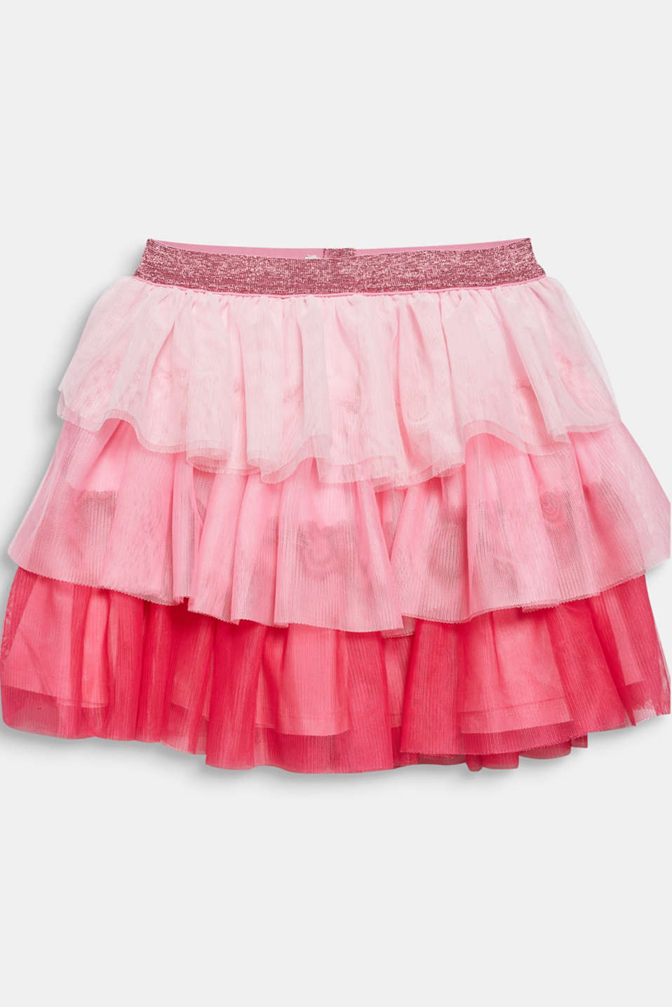 Layered skirt made of tulle with a glitter waistband, CANDY PINK, detail image number 1