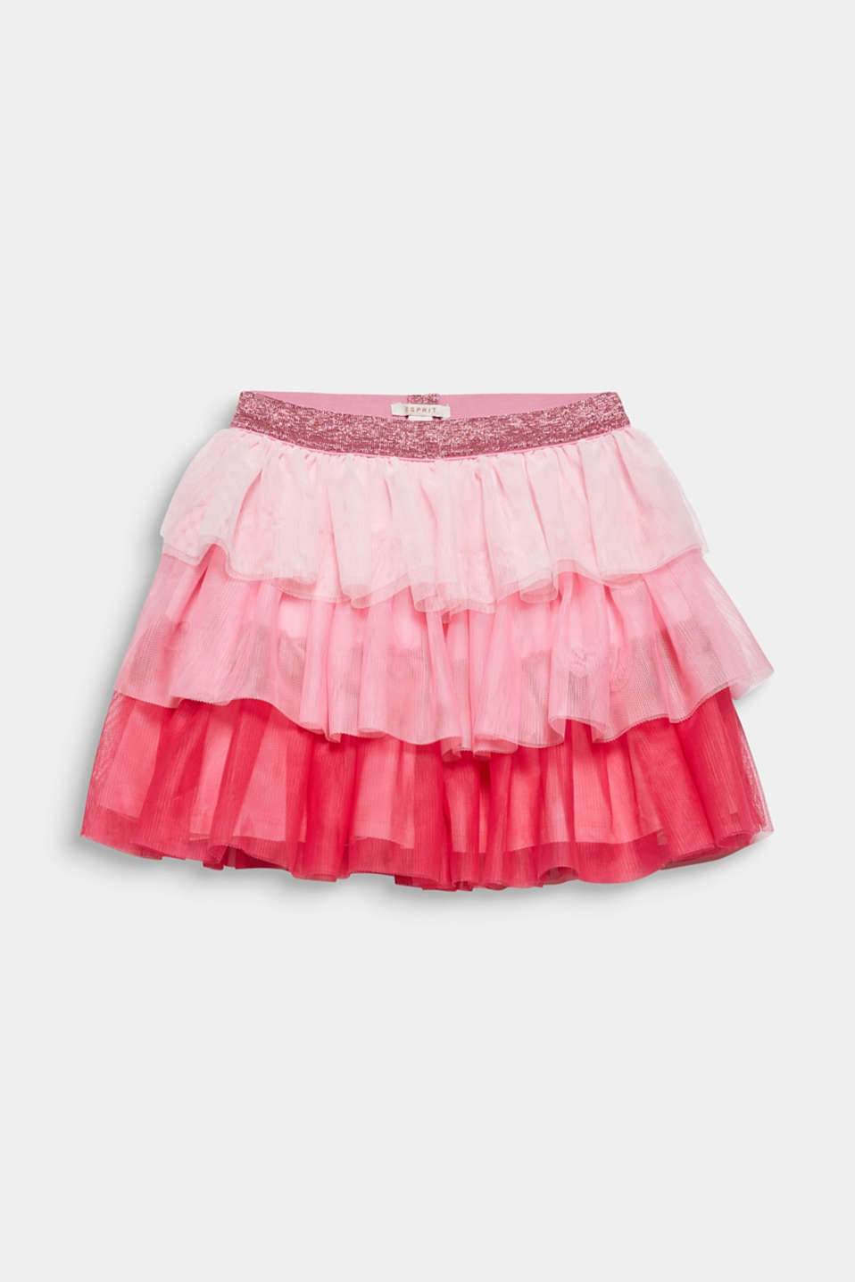 Layered skirt made of tulle with a glitter waistband, CANDY PINK, detail image number 0