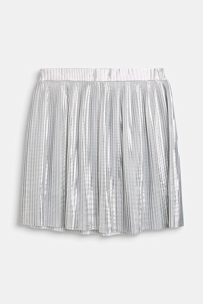 Falda plisada con diseño metalizado, SILVER, detail image number 1