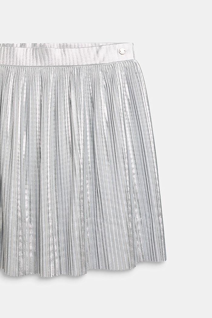 Falda plisada con diseño metalizado, SILVER, detail image number 2