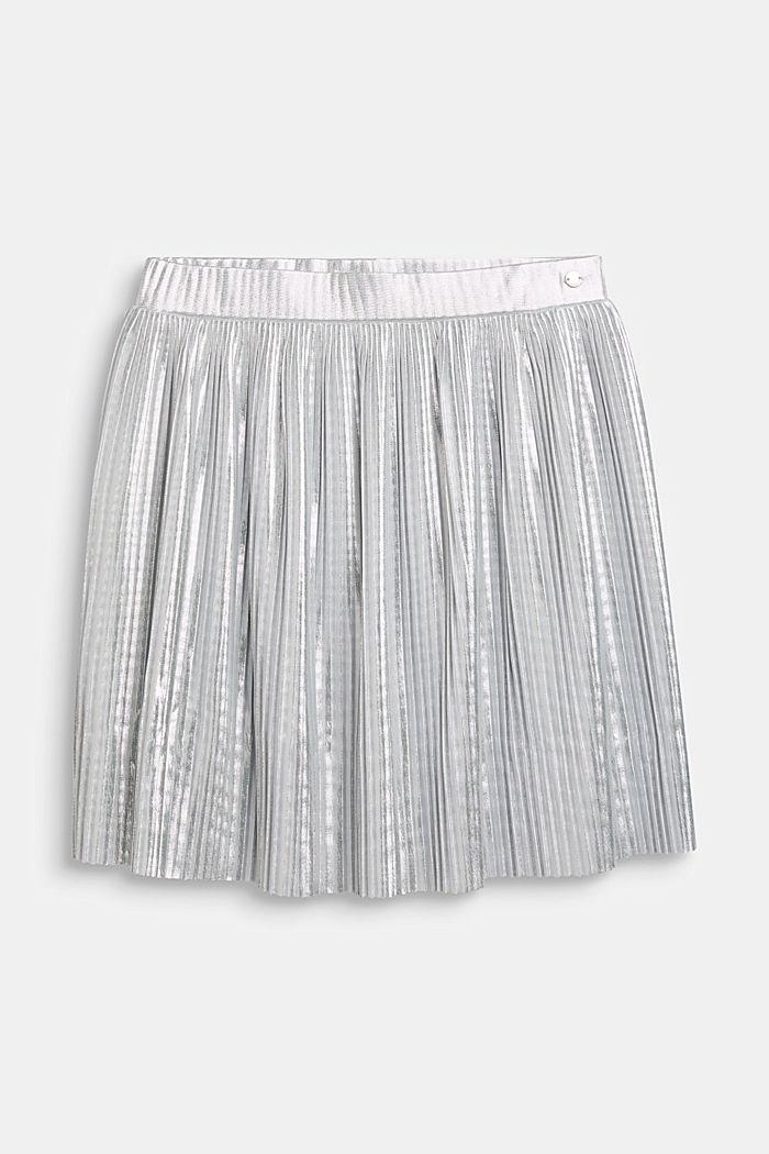 Falda plisada con diseño metalizado, SILVER, detail image number 0