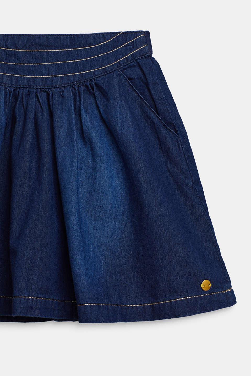 Denim skirt with glittering threads, DARK INDIGO DE, detail image number 2