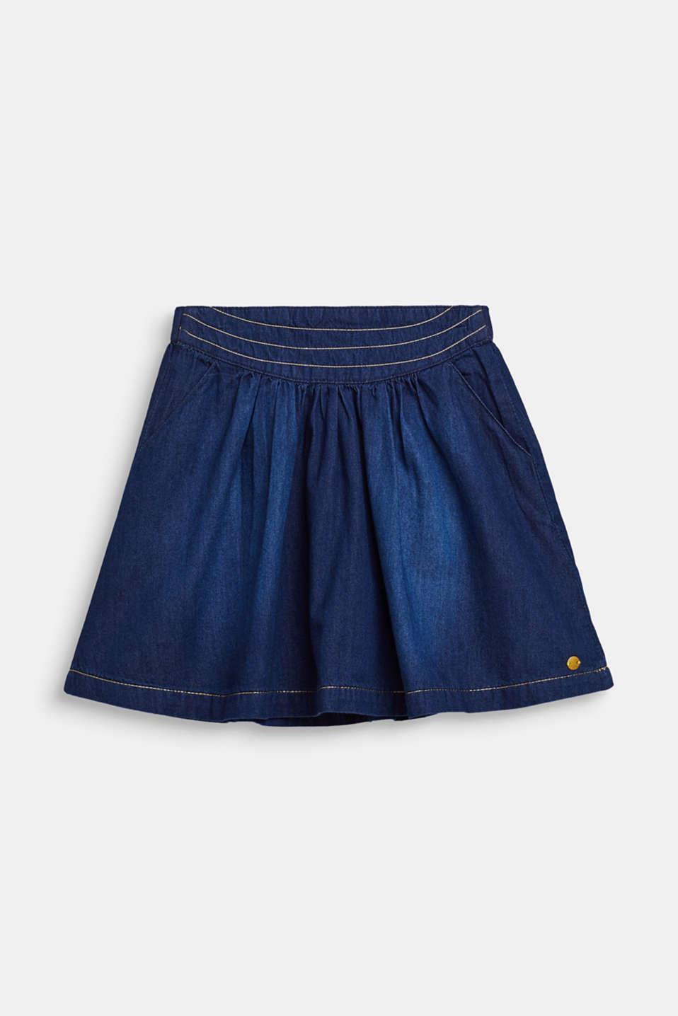 Denim skirt with glittering threads, DARK INDIGO DE, detail image number 0
