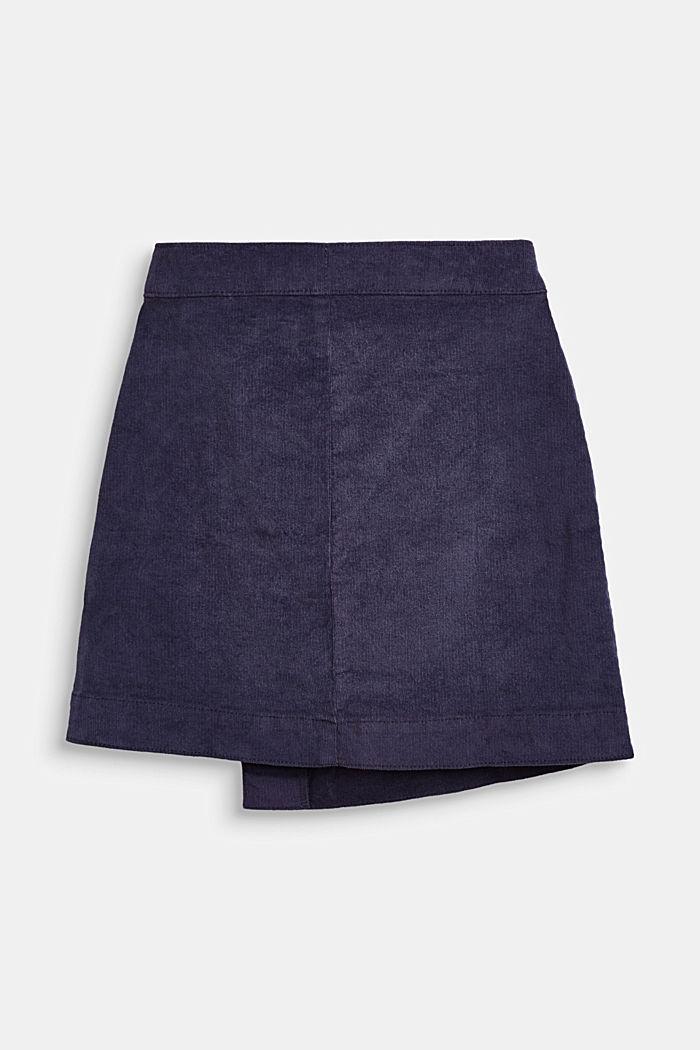 Nederdel i smalriflet fløjl i slå om-look, LCMIDNIGHT BLUE, detail image number 1