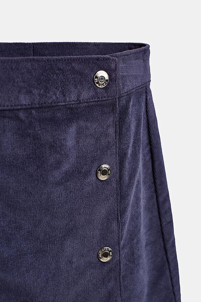 Nederdel i smalriflet fløjl i slå om-look, LCMIDNIGHT BLUE, detail image number 2