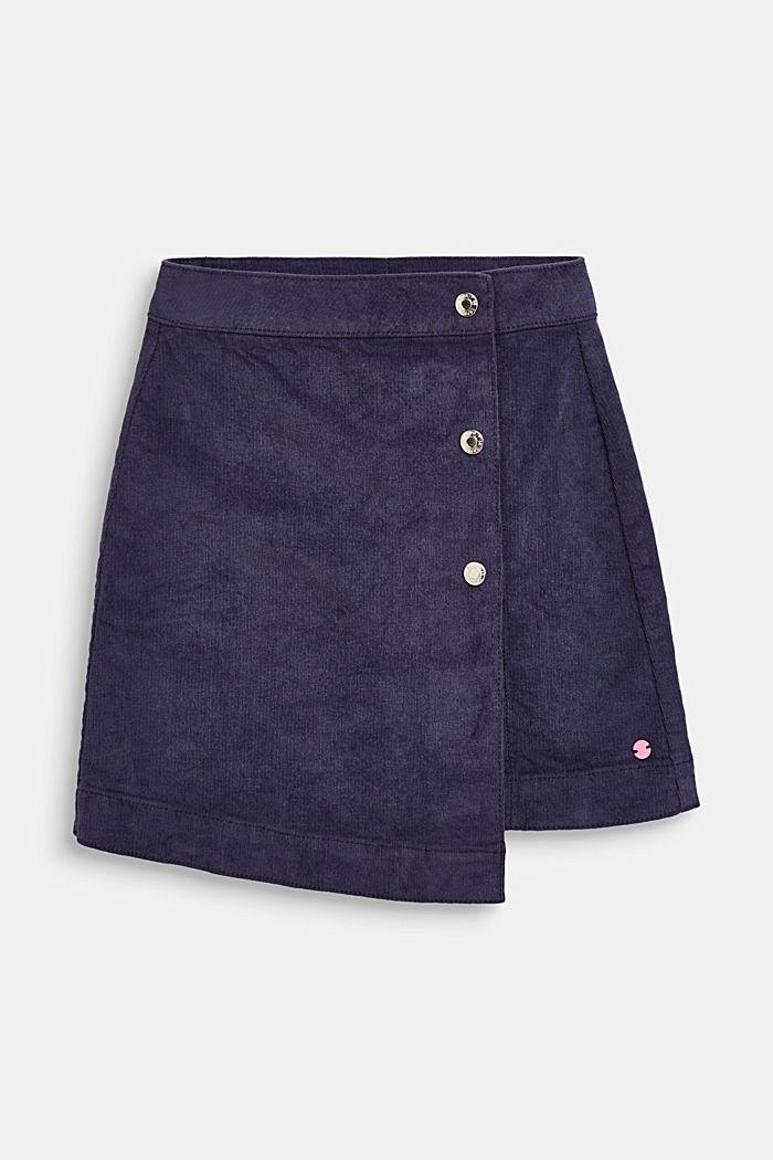 Nederdel i smalriflet fløjl i slå om-look, LCMIDNIGHT BLUE, detail image number 0