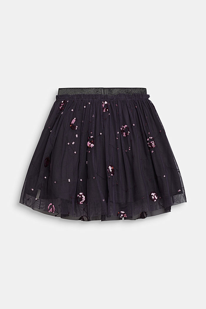 Tulle skirt with appliquéd sequins, LIGHT GUN META, detail image number 2