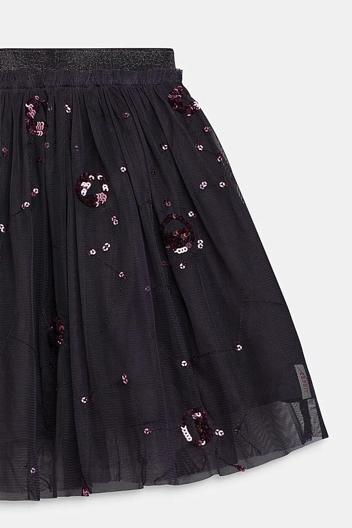 Tulle skirt with appliquéd sequins, LIGHT GUN META, detail image number 1