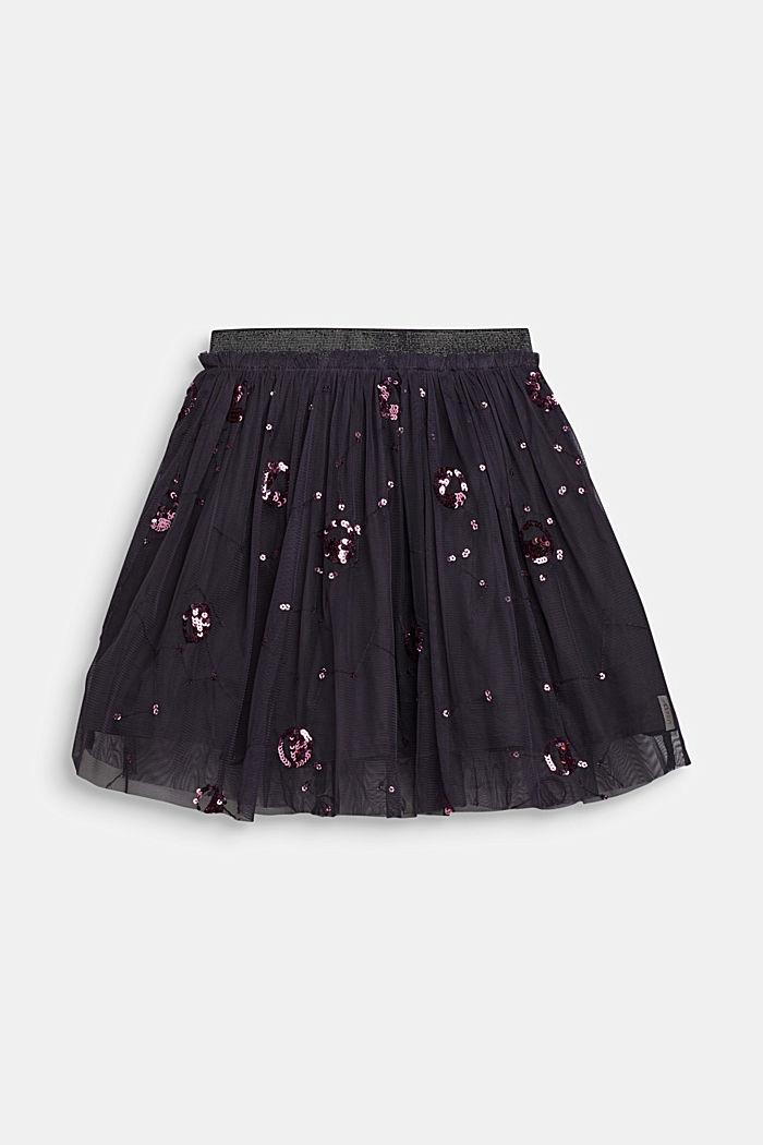 Tulle skirt with appliquéd sequins, LIGHT GUN META, detail image number 0