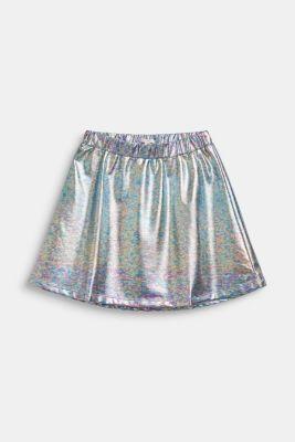Skirt in an iridescent metallic finish, LCSILVER, detail