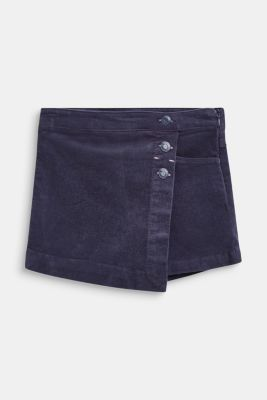 Corduroy shorts with a wrap-over effect, MIDNIGHT BLUE, detail