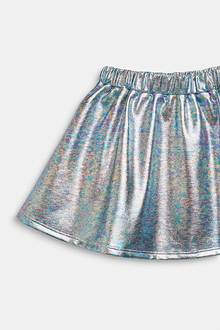 Skirt in an iridescent metallic finish, SILVER, detail image number 2