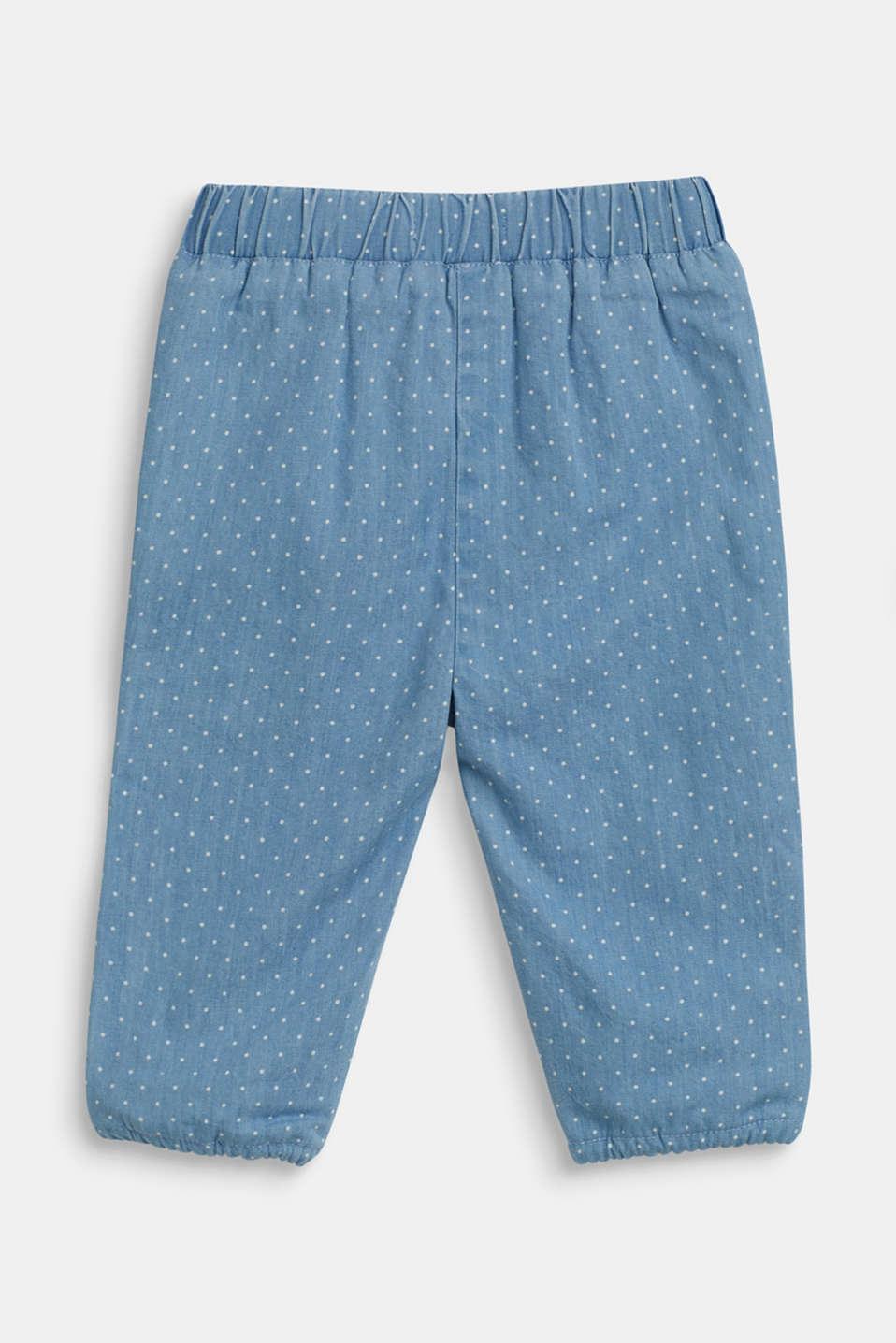 Denim-effect polka dot trousers, LCBLUE LIGHT WAS, detail image number 1