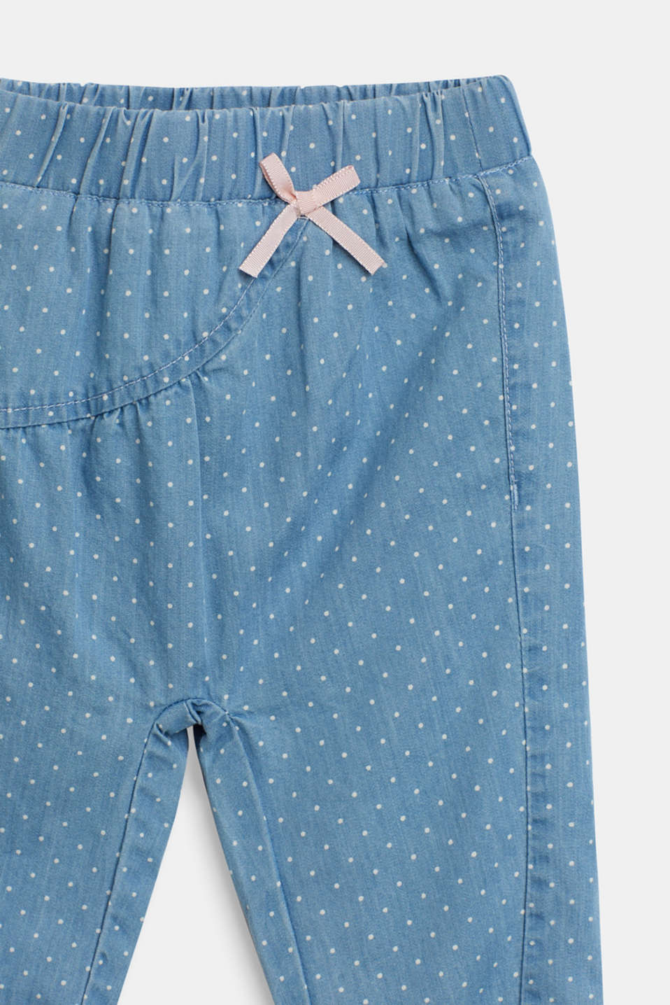 Denim-effect polka dot trousers, LCBLUE LIGHT WAS, detail image number 2