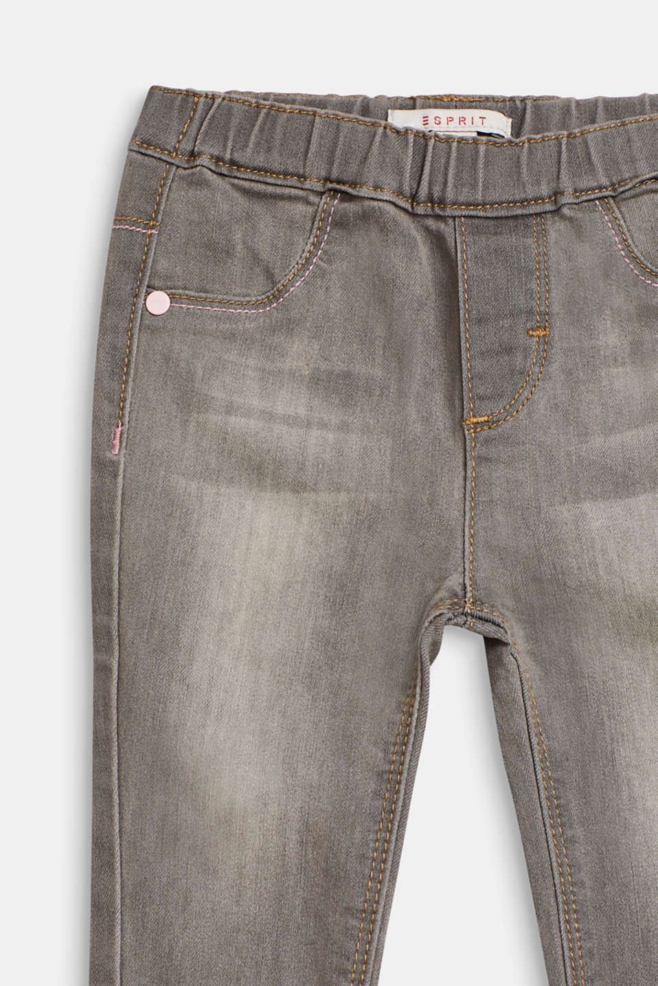 Stretch jeans with elasticated waistband, LCLIGHT GREY DEN, detail image number 2