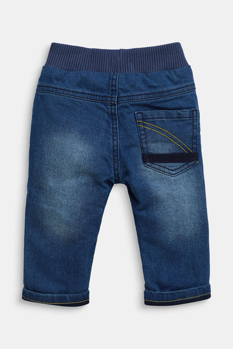 Jeans with a ribbed waistband and jersey lining, LCMEDIUM WASH DE, detail image number 1