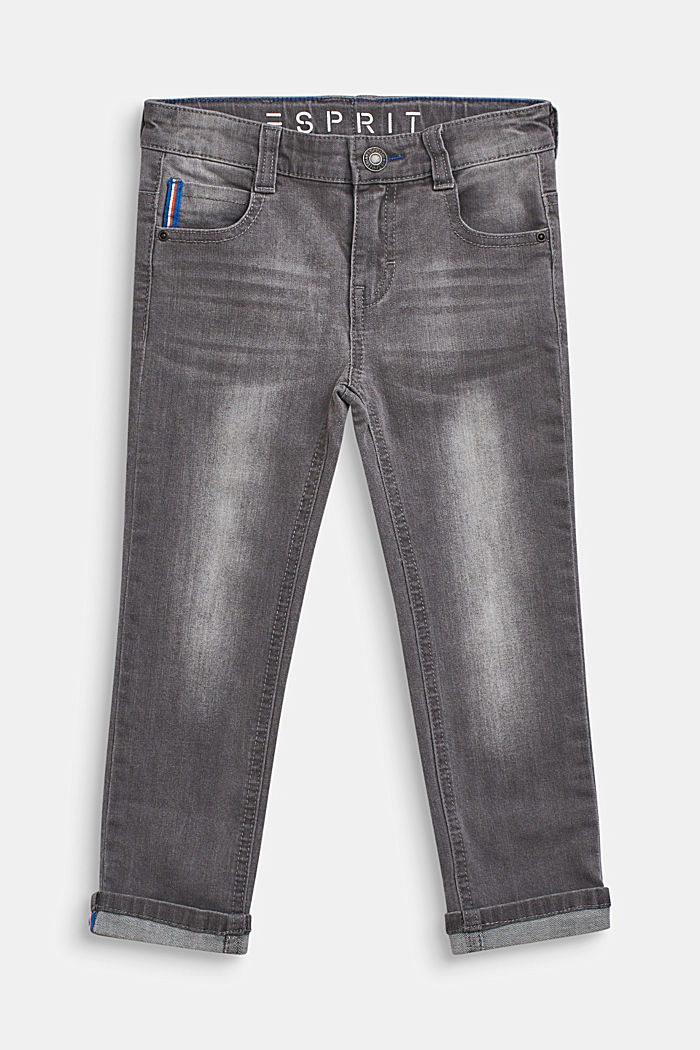 Stretch-Jeans mit Webband-Details, GREY DENIM, detail image number 0