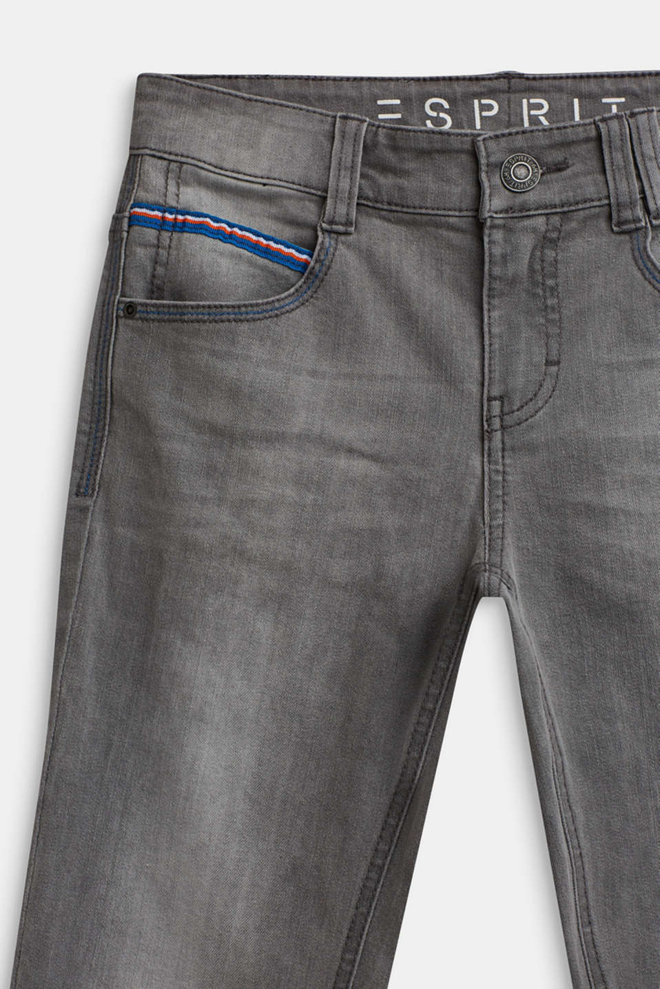 Stretch jeans with woven tape, LCGREY DENIM, detail image number 2