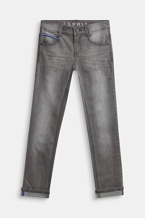 Stretch jeans with woven tape