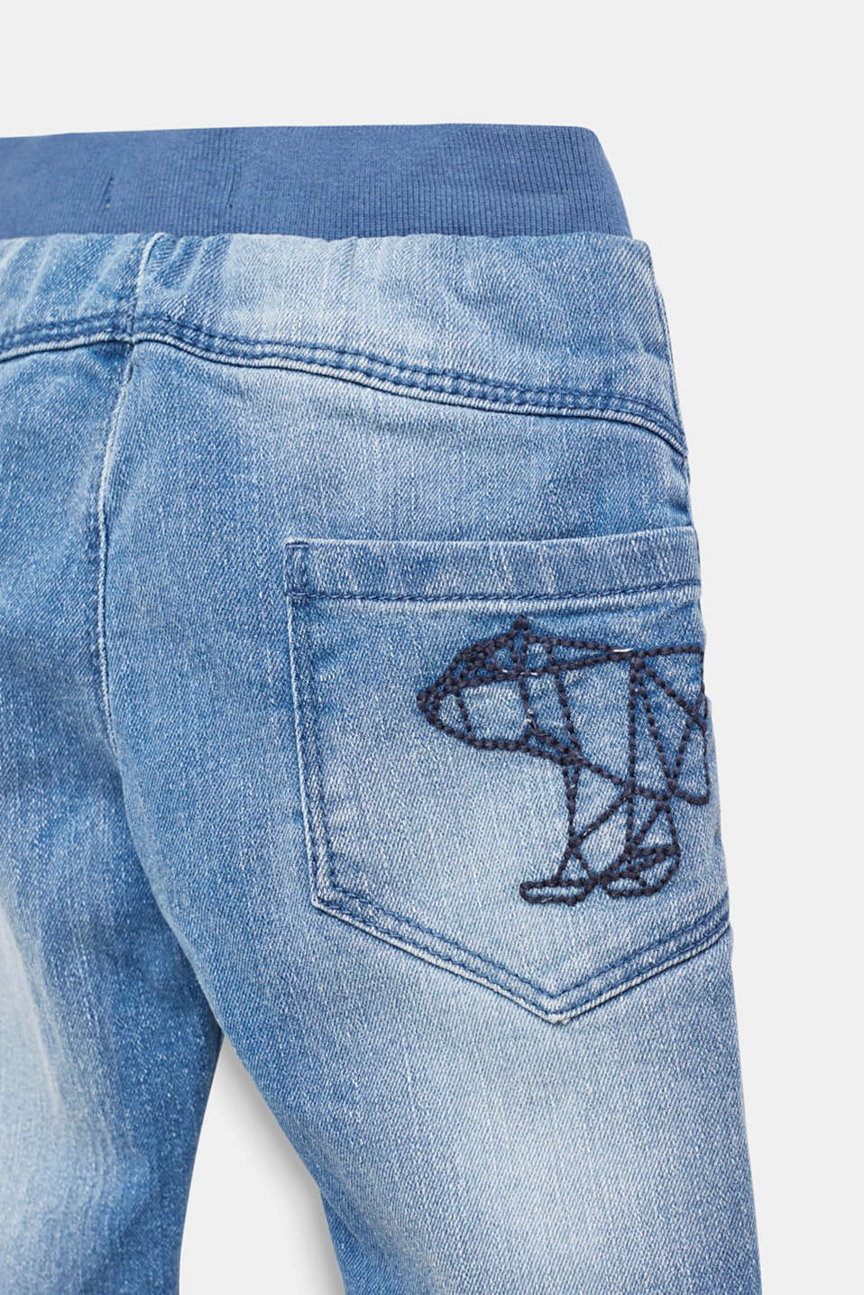 Jeans with a ribbed waistband and jersey lining, LCBLUE LIGHT WAS, detail image number 2