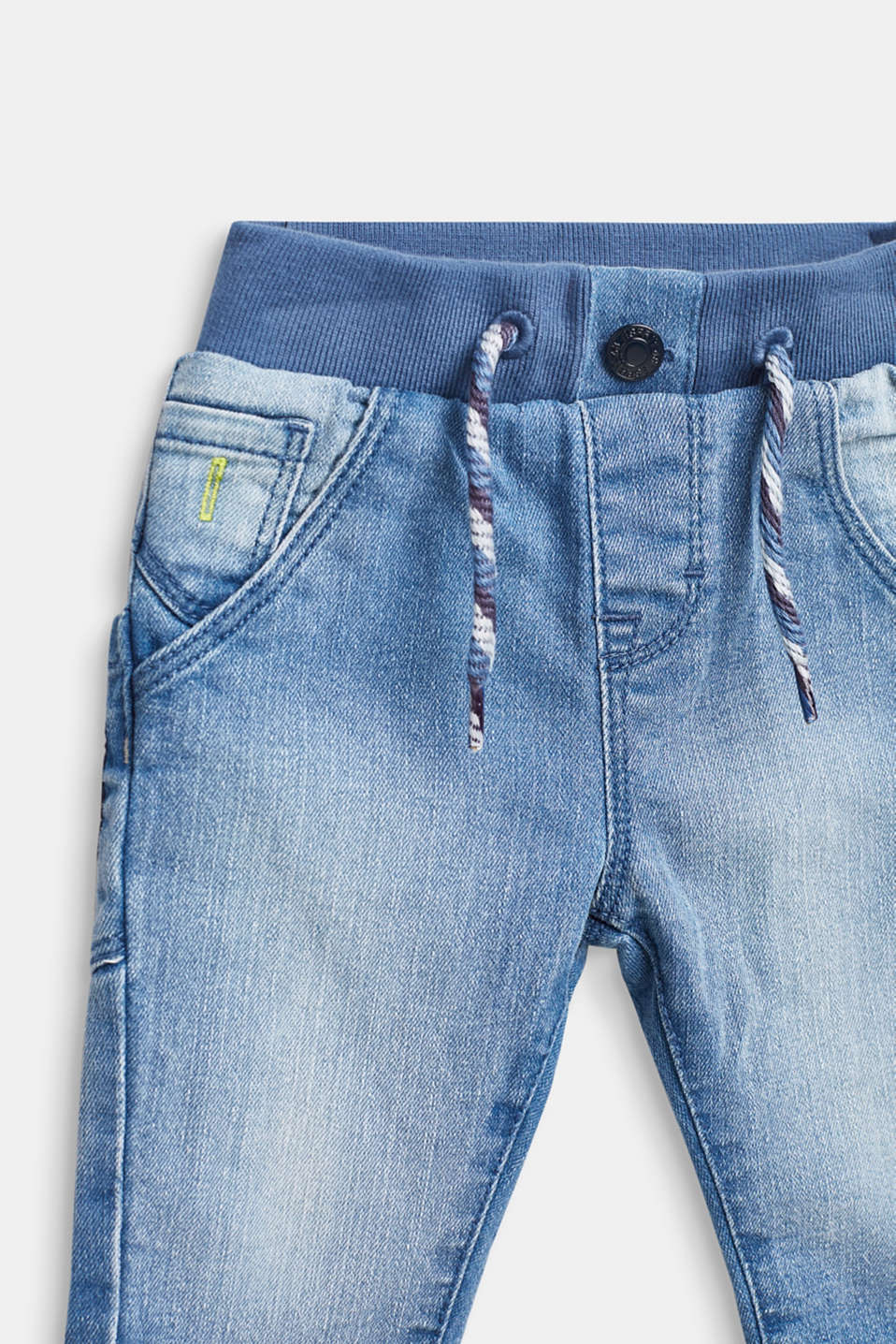 Jeans with a ribbed waistband and jersey lining, LCBLUE LIGHT WAS, detail image number 3