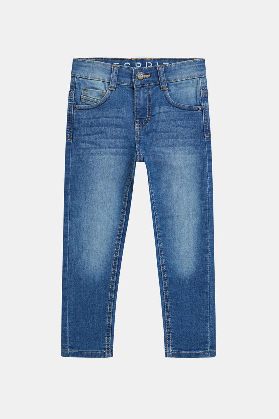 Stretch jeans with an adjustable waist, MEDIUM WASH DE, detail image number 0