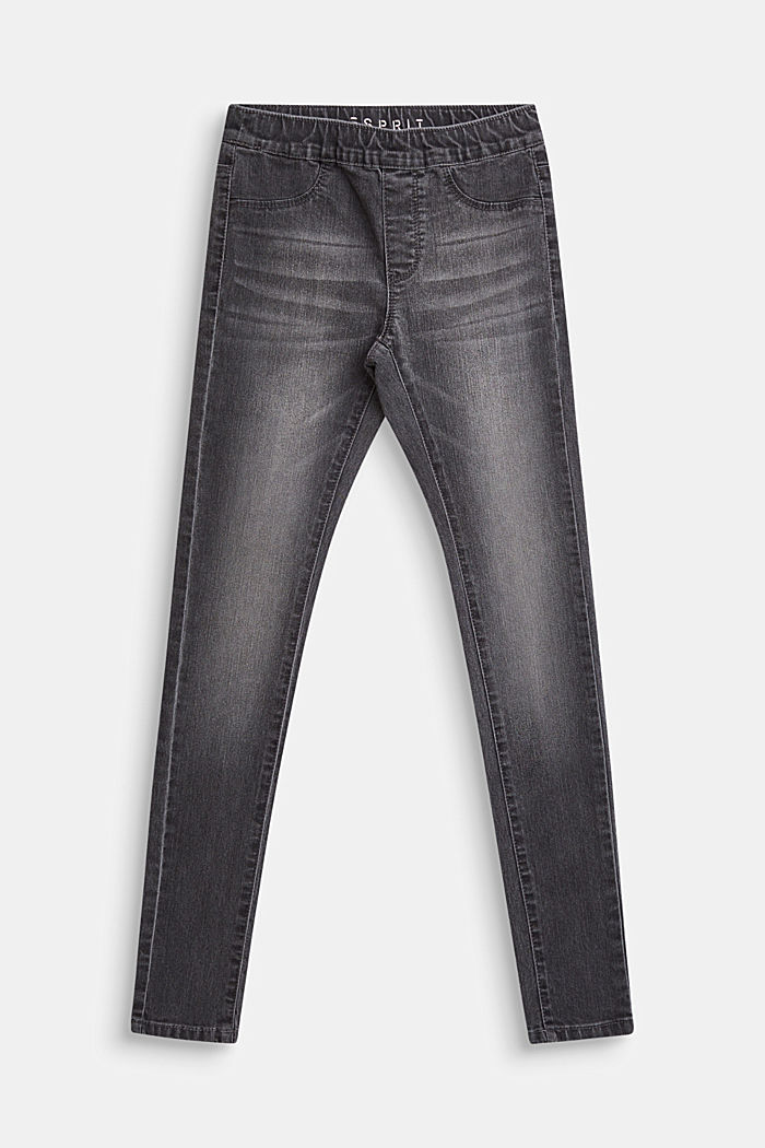 Jeggings with an elasticated waistband, LCGREY DENIM, detail image number 0