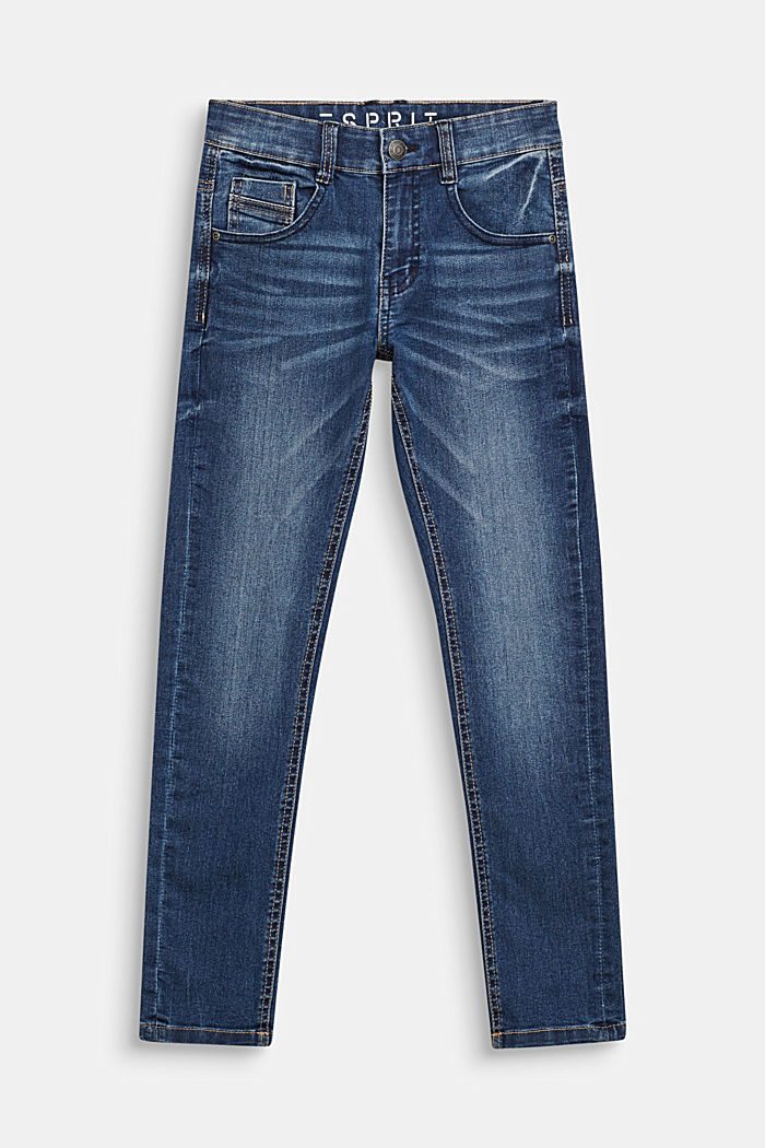 Stretch jeans with an adjustable waist, MEDIUM WASHED DENIM, detail image number 0