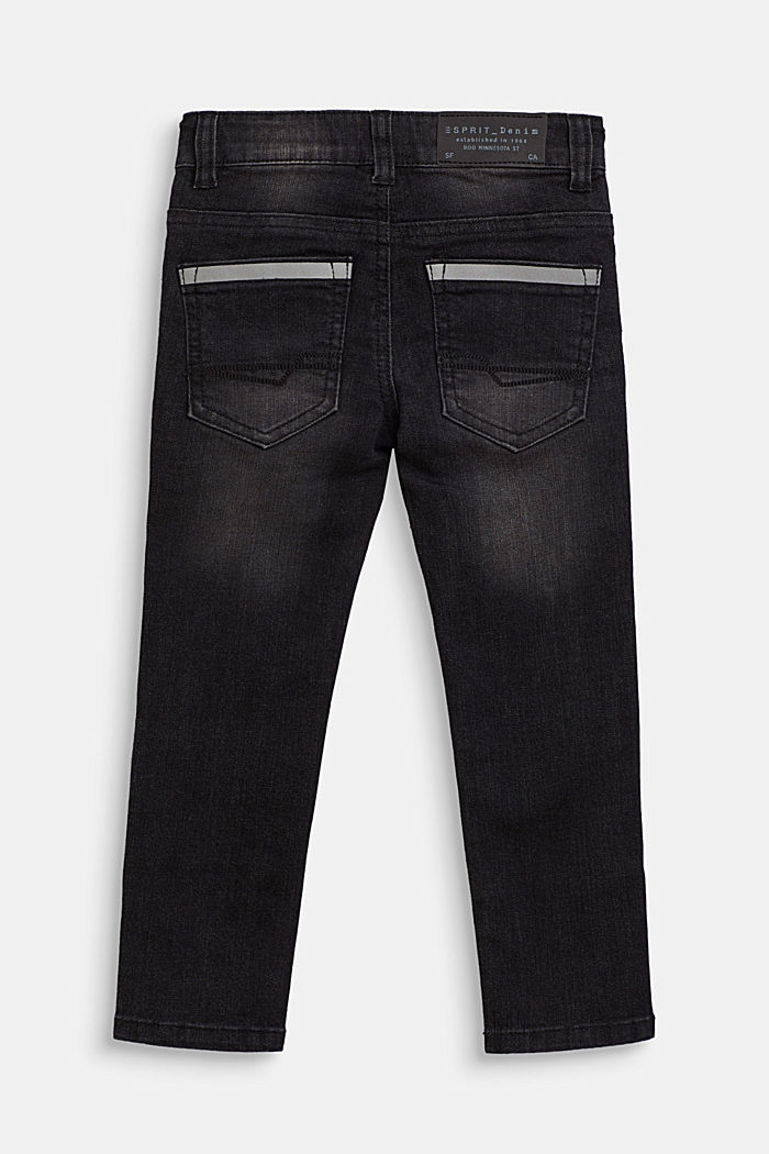 Stretch jeans with reflector details, BLACK, detail image number 1