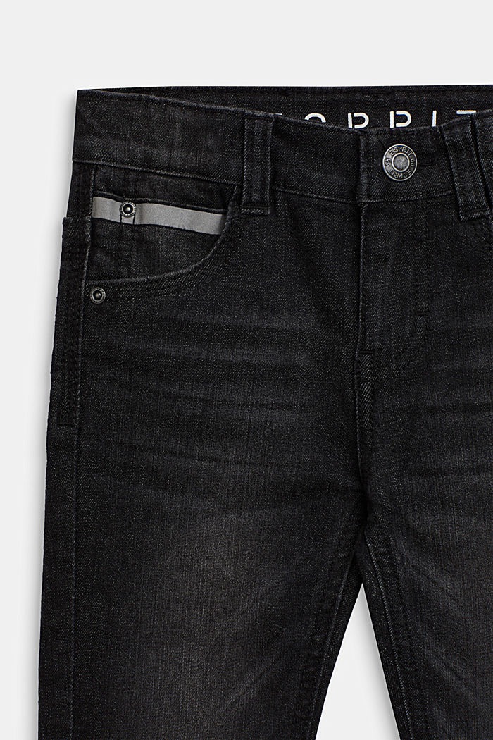 Stretch jeans with reflector details, BLACK, detail image number 2