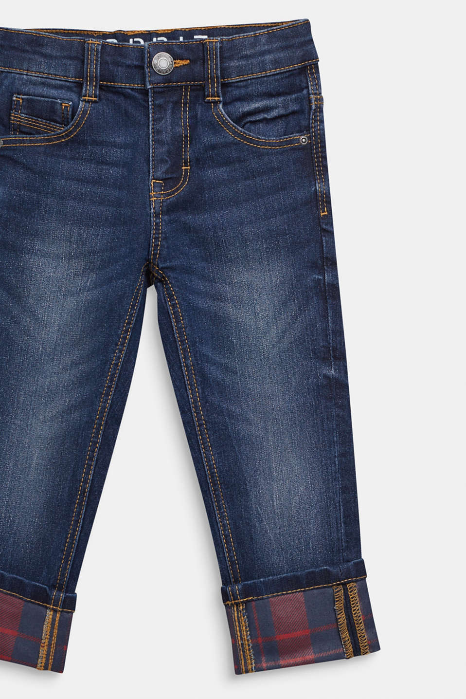Super stretch jeans with turn-up hems, MEDIUM WASH DE, detail image number 2