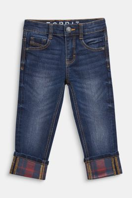 Super stretch jeans with turn-up hems, MEDIUM WASH DE, detail