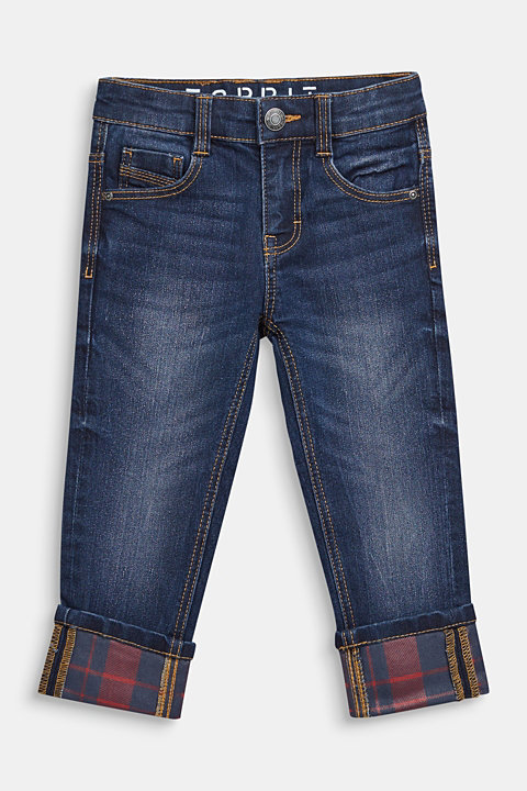 Super stretch jeans with turn-up hems