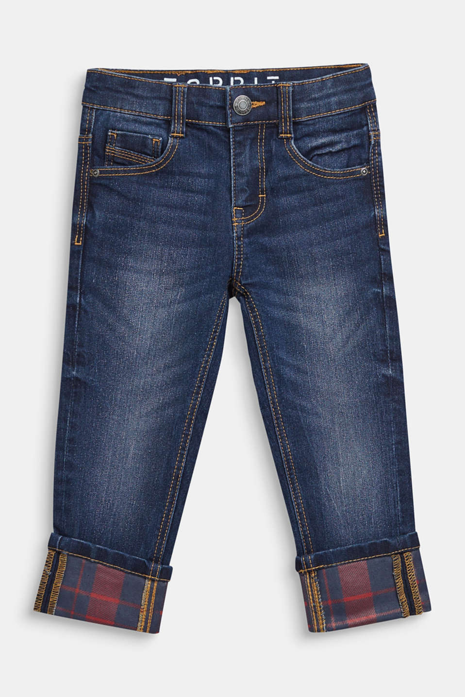 Super stretch jeans with turn-up hems, MEDIUM WASH DE, detail image number 0