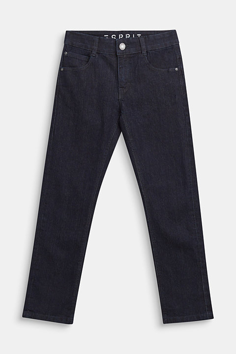 Dark blue stretch jeans with adjustable waistband