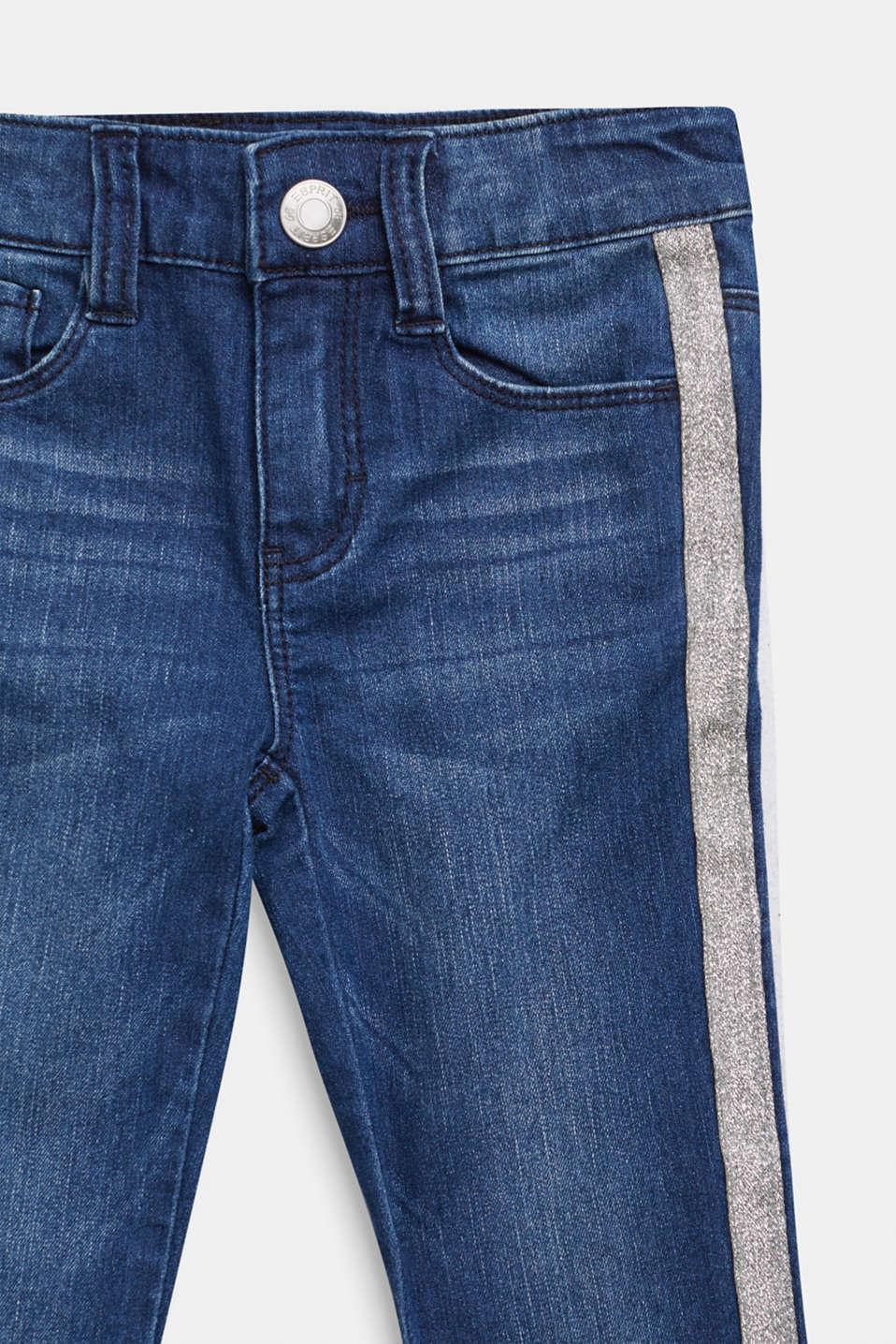 Jeans with glittering side stripes, DARK INDIGO DE, detail image number 2